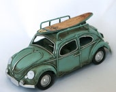 Surf's Up Decor - Aqua Blue Vintage VW Volkswagon Beetle, Bug with Surfboard. Custom colors available. - metalori