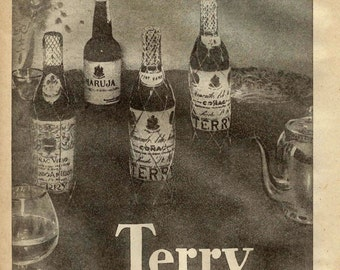 2 Vintage spanish cognac ads from 1947