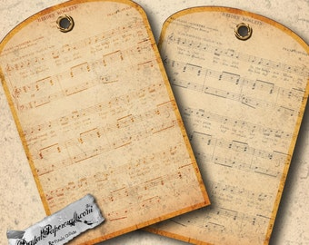 Vintage Sheet Music Printable Tags - Distressed Music Tags for Journal & Scrapbook Paper Crafts -Antique Printable Music Tags - Gift Tags