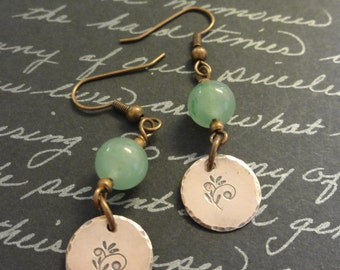 Copper & Jade  earrings
