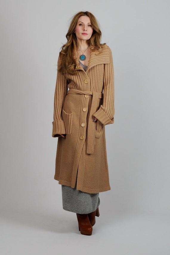 vintage 70s camel BELTED Cardigan Sweater Coat by TinRoofVintage