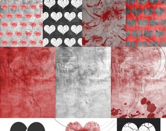 Digital Scrapbook Anti-Valentine's Day Pack-INSTANT DOWNLOAD-Broken Hearts Pack-Digital Paper for Personal or Commercial Use - 300 DPI -