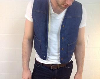 "Denim Fleece-line ""Roebucks"" Vest - size small"