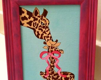 Mommy Giraffe Kissing Baby Girl