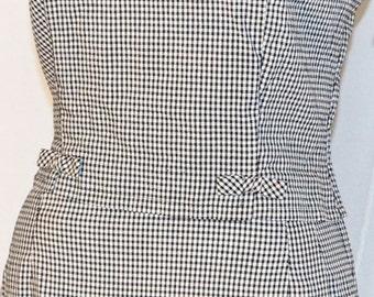 1960s Womens 2PC Gingham Sleeveless Dress Sz 8 Vintage Retro