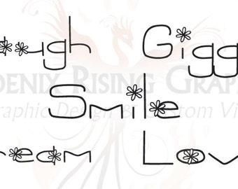 """Love, Giggle, Dream, Smile, Laugh - Vinyl decals 6""""x3"""""""