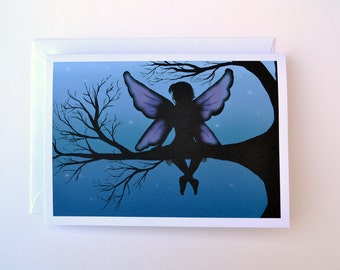 Fairy Silhouette Greeting Card 5x7 inch Blank Greeting Card With Envelope