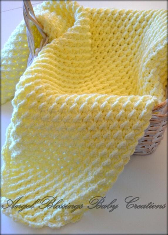 Yellow Crocheted Baby Blanket Honeycomb Afghan Lap Blanket