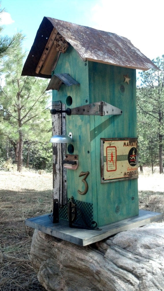 Rustic Birdhouse Vintage Recycled By Filthyrichdesigns On Etsy