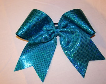 Turquoise Shimmery Dotted Cheer Bow