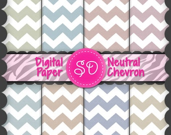 Neutral Chevron Digital Paper Pack (Instant Download)