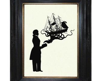 Silhouette Octopus Art Print Gentleman Book Octopus Kraken Pirate Ship Victorian Steampunk