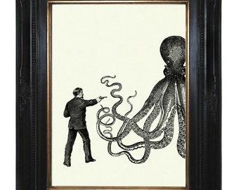 Steampunk Octopus vs Gentleman Kraken Tentacles gun revolver Victorian art print