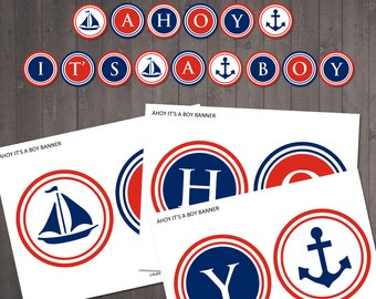 "INSTANT DOWNLOAD - Printable ""ahoy its a boy'' banner - nautical baby shower banner"