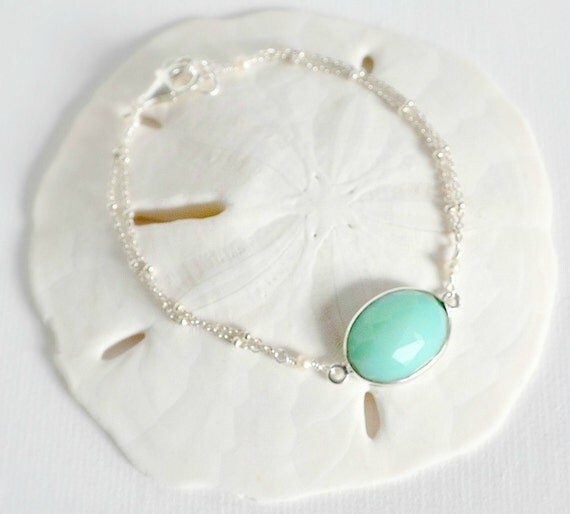 Sea of Dreams Bracelet - Delicate Sterling Silver Bracelet with a Beautiful Turquoise Crystal Link