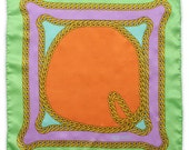 Signature Gold Chain Pocket Square - Silk Green Gold Purple Orange Baby Blue Chains - Gift For Him - Wedding