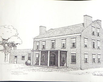 Vintage Print of Pen and Ink, Old Building, 11x17