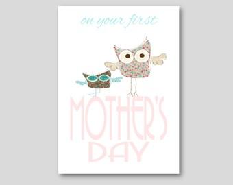 mother 39 s day card printable digital greetings card first mother 39 s day owls mother 39 s day card. Black Bedroom Furniture Sets. Home Design Ideas