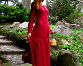 Cotte simple, medieval dress, historical pattern, great for reenacting, elves dress, medieval dress  with binding in front