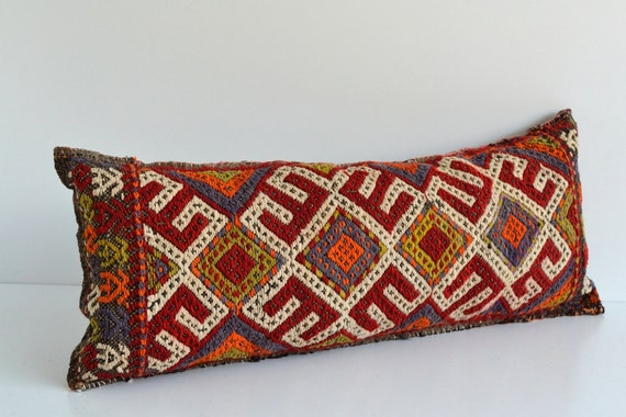 Large Decorative Bolster Pillows : Bolster Kilim Pillows 15x35 inch Large Bohemian Turkish