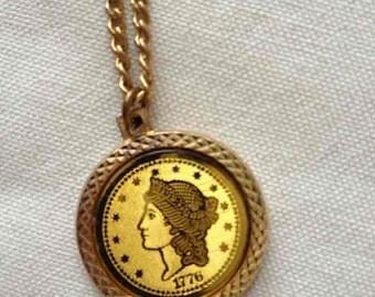 Bicentennial 1776 Replica Golden Coin Necklace