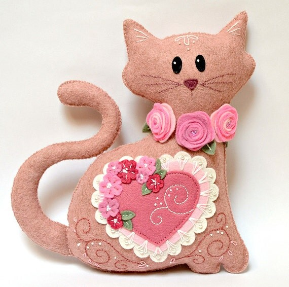 Felt Cat Plush - Pink Heart Wool Mix Felt with Intricate Embroidery and Appliqué