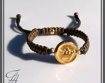 Gold Bracelet Wax Seal Crown Stamped Charm Bracelet Handmade Bracelet Leather Bracelet,Statement Bracelet,Crown Bracelet,Gift Bracelet