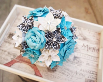Paper Kusudama Rose Flower Wedding Bouquet Turquoise