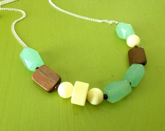 Chunky Aqua, Cream, and Wood Beaded Necklace - marked down