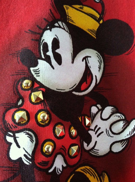 Vintage 90s Minnie Mouse Sweatshirt Red Studded Disney XS/S