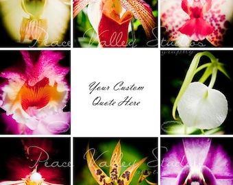 Orchid Poster with Custom Quote 11x14 Photographic Collage Print Unique Gift Vibrant Home Decor