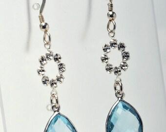 12mm Blue Topaz / Citrine Earrings