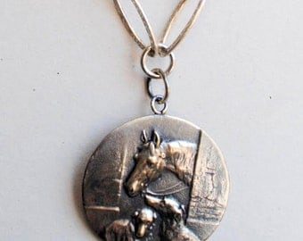 Belgium Horse and Dog Medal Necklace