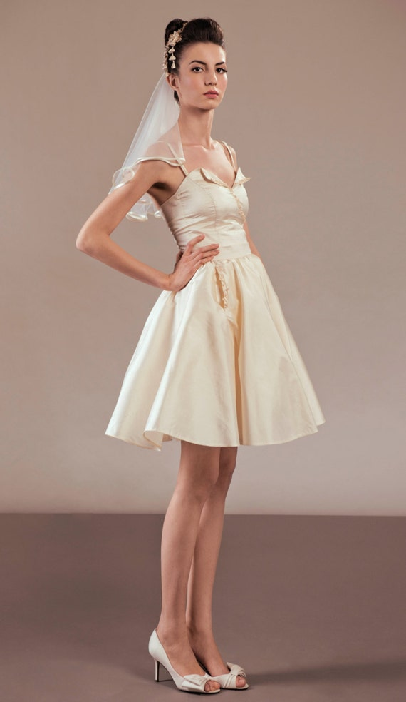 Items similar to akemi short silk wedding dress ensemble for Wedding dress ideas for short brides