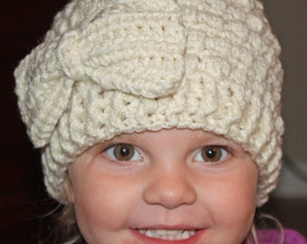 Girls Crochet Puff Stitch Hat w/ Crochet Bow