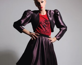 Purple Burlesque Victorian Gothic Cropped Taffeta Jacket