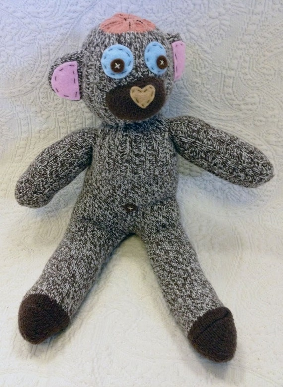 Handmade sock animal - stuffed animal - Cute brown sock monkey