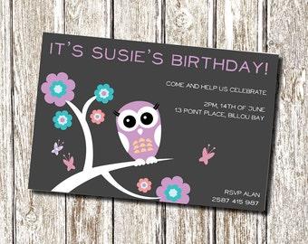 Purple Owl Birthday Invitation - Printable and Personalised