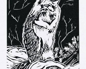 Mountain Squirrel Linocut Relief Print, Hand Pulled Fine Art, Limited Edition, Printmaking Original