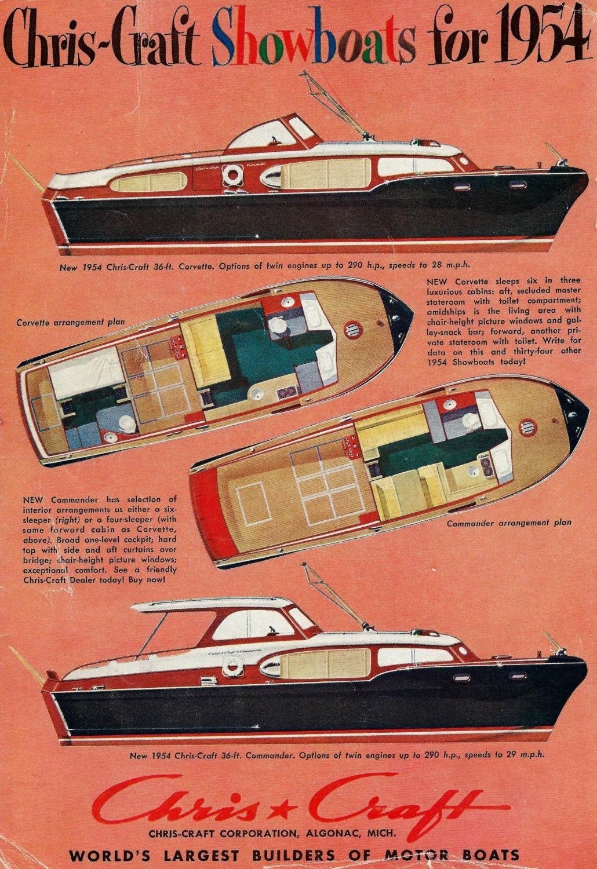 Vintage Chris Craft Motor Boat Ad Corvette And Commander