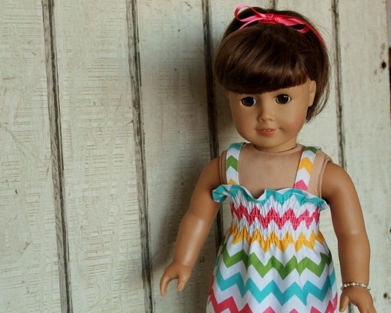 American Girl Doll Clothes - Shirred Sundress with Bracelet - Girl Chevron