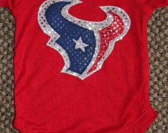 Houston Texans Sequin Bodysuit T-Shirt Toro Bull