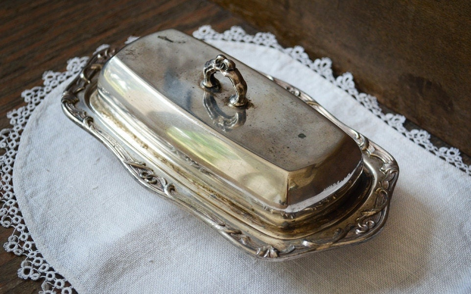 Antique Butter Dish Coronet Silver Plate Covered Butter Dish