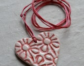 Ceramic Heart Necklace Pink and Red Flower Pattern