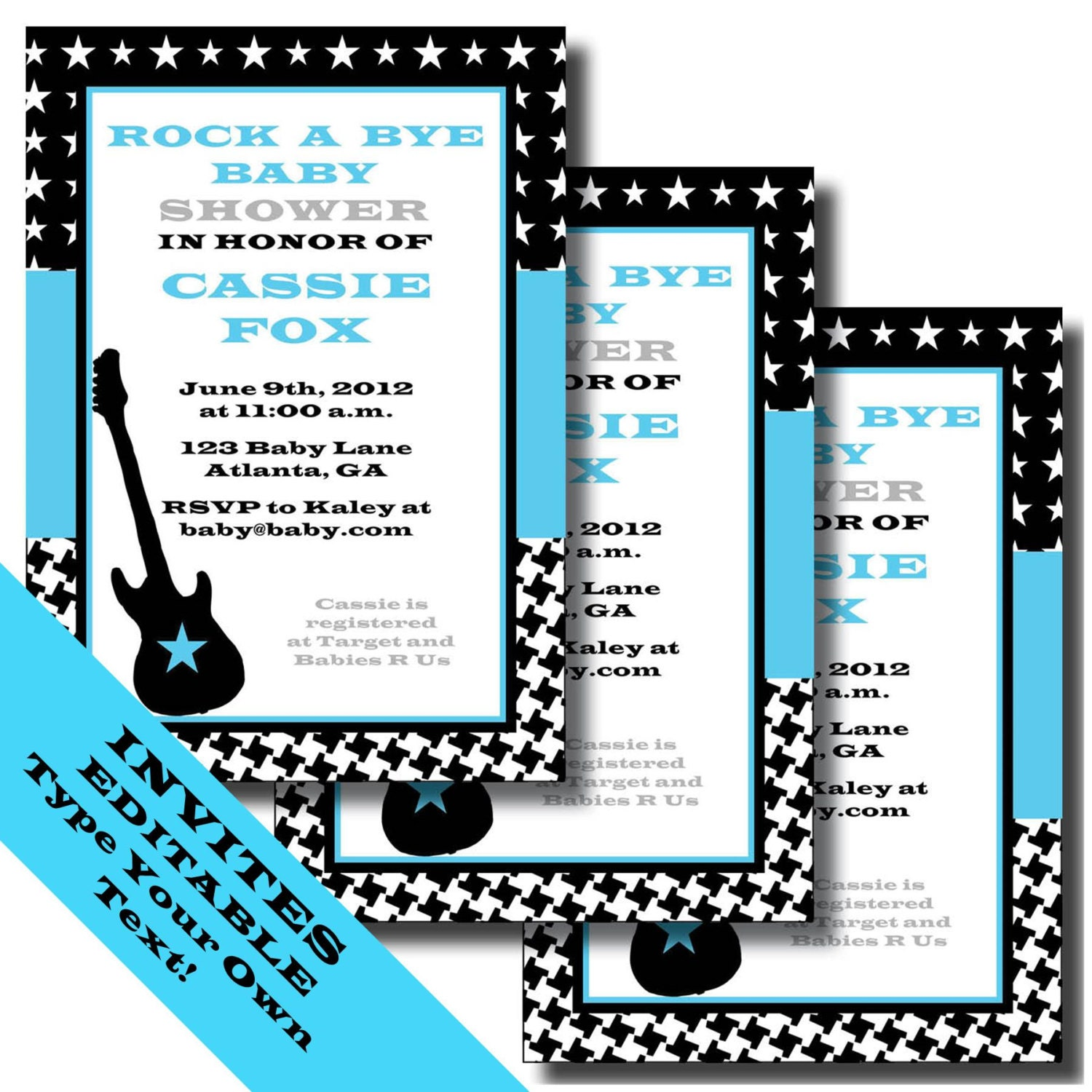 Rock a Bye Baby Printable Invitations and Party Supplies – Rock and Roll Party Invitations
