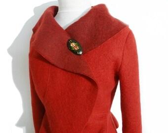 Women boiled wool Jacket red size Xs-L