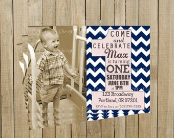 Trendy Navy Blue Chevron First Birthday Invitation, Boy or Girl, Printable, Custom Digital File