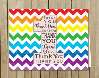 Rainbow Chevron Thank You One Card, Birthday, Custom Digital File, Printable