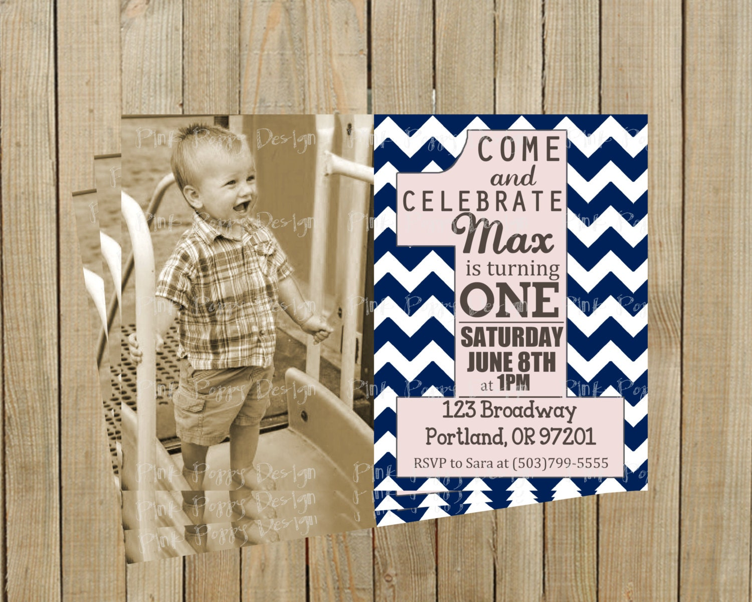 Trendy Navy Blue Chevron First Birthday Invitation Boy Or