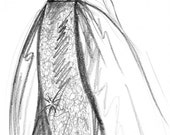 Couture Sketch-Framed Original Pencil Illustration